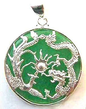 Silver Chinese Jade Dragon Phoenix Pendant Necklace