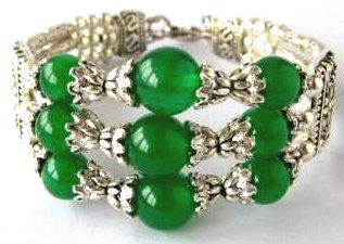 Tibetan Silver Green Jade Bracelet [style 2]