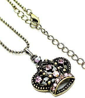 Antique Bronze Crown Pendant Necklace