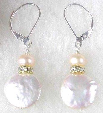 Silver Pink Pearl & Mother of Pearl Dangle Earrings
