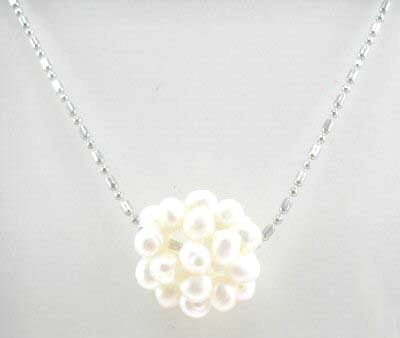 Genuine White Pearl Cluster Pendant Necklace