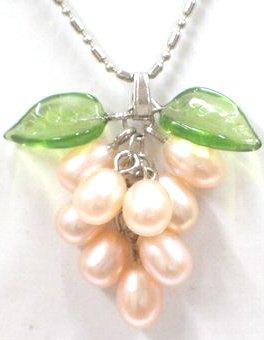 "Genuine Pink Freshwater Pearl ""Grape Cluster"" Jade Green Leaf Pendant Necklace"