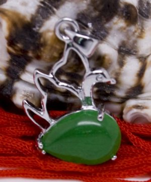 Silver Jade Swan Pendant Necklace [style1]