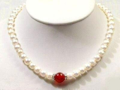 Genuine White Freshwater Pearl & Blood Red Jade Necklace