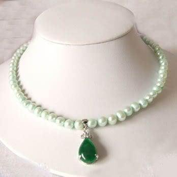 Genuine White Freshwater Pearl & Green Jade Necklace