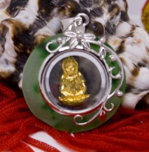Silver Gold Jade Spinning Buddha (Buddhist) Pendant Necklace [style2]