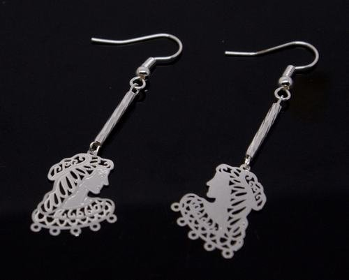 Silver Victorian Lady Portrait Earrings