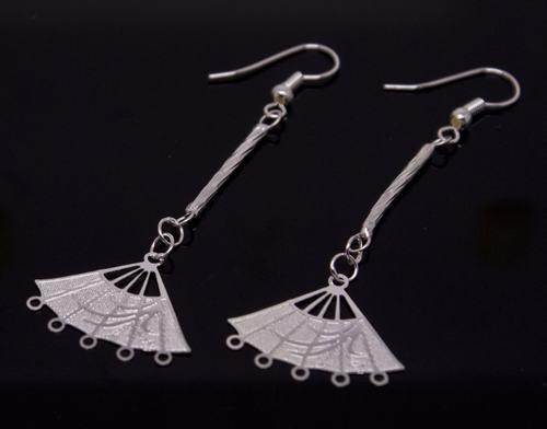 Silver Chinese Fan Earrings