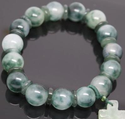 Green Jade Beaded Bracelet With Cross Charm