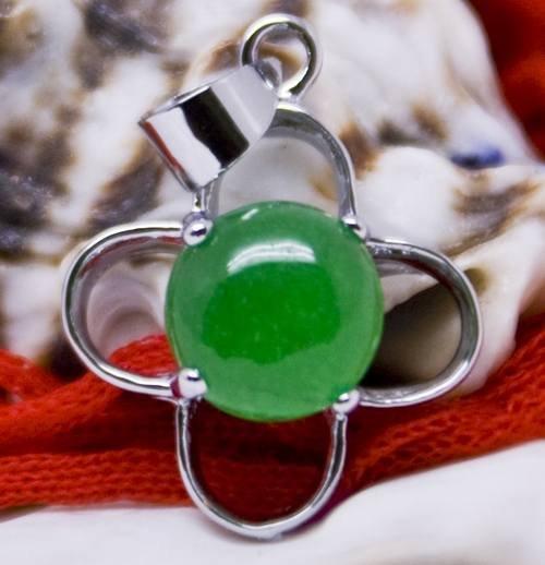 Silver Jade Four Leaf Clover Pendant Necklace
