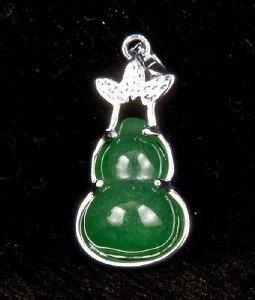 Silver Jade Gourd Pendant Necklace