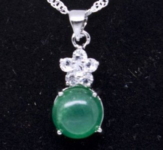 Silver Jade Crystal Flower Pendant Necklace