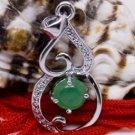 Silver Spade Heart Jade Pendant Necklace