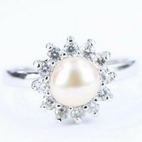 14K White Gold Freshwater Pearl Crystal Ring