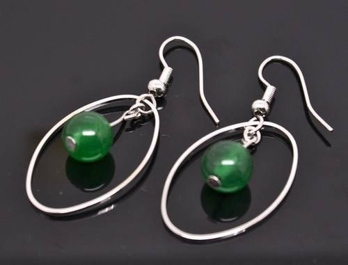 Silver Circle Jade Dangle Earrings