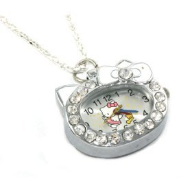 Hello Kitty Clear Crystal Watch Necklace