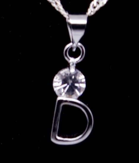 """Silver Crystal """"D"""" Initial Letter Pendant Necklace"""