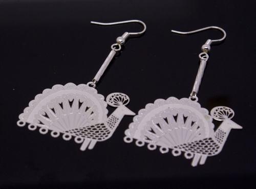 Silver Peacock Earrings [style2]