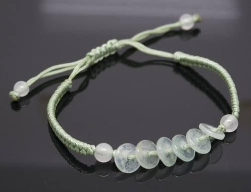 Chinese RuYi Green Jade 6 Circle Bead Bracelet