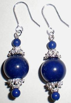 "Genuine Tibetan Silver ""Lapis Lazuli"" Earrings [style1]"
