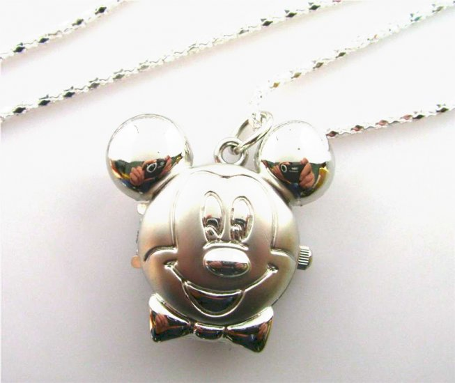 Silver Mickey Mouse Watch Necklace