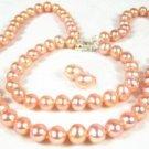Genuine Pink Freshwater Pearl Necklace, Bracelet, Earring Set
