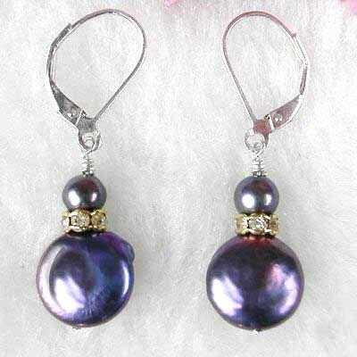 Silver Black Freshwater Pearl & Mother of Pearl Earrings