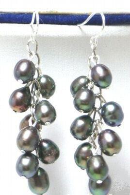 Genuine Black Freshwater Pearl Dangle Earrings