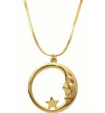 18K Gold Crescent Moon & Star Necklace