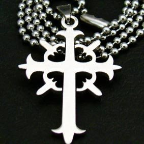 "Silver ""Radiating Cross"" Pendant Necklace"