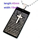 Black Bible Dogtag Pendant Necklace
