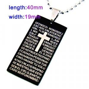 Black Bible Dogtag Pendant Necklace