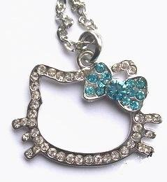 Hello Kitty Blue Crystal Bow Pendant Necklace