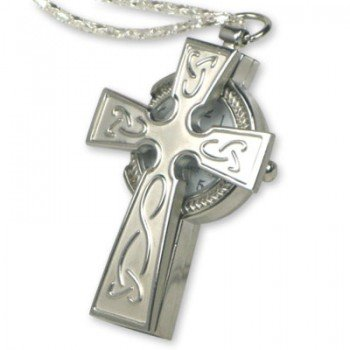 Silver Celtic Christian Crucifix Cross Watch Necklace