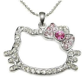 Crystal Hello Kitty Pink Bow Pendant Necklace