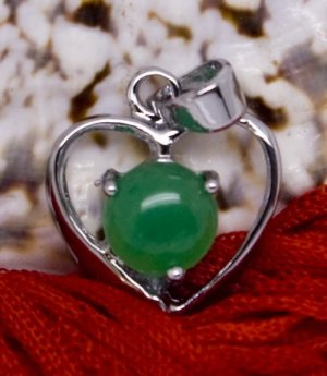 Silver Jade Heart Pendant Necklace [style2]