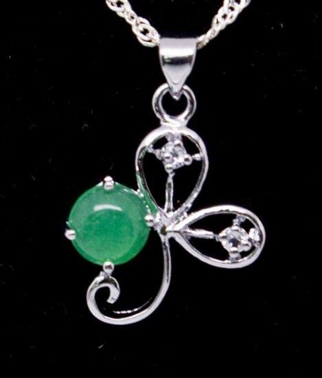 Silver Jade Clover Pendant Necklace