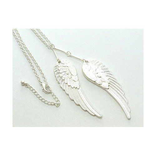 Silver Angel Wing Pendant Necklace