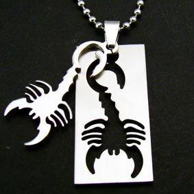 Scorpion Scorpio Zodiac Dogtag Pendant Chain Necklace