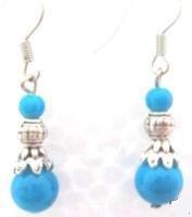 Turquoise & Tibetan Silver Earrings [style2]
