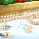 Genuine Pink Freshwater Pearl Necklace, Earrings, Bracelet (Set of 5)