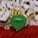 18K Gold Jade Heart & Arrow Crystal Pendant Necklace