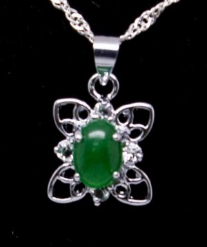 Silver Jade Chinese Knot Pendant Necklace