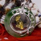Gold Jade Spinning Ram Goat (Chinese Zodiac) Pendant Necklace