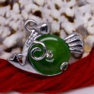 Silver Jade Crystal Fish Piranha Pendant Necklace