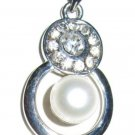 Genuine White Freshwater Pearl Eternity Pendant Necklace