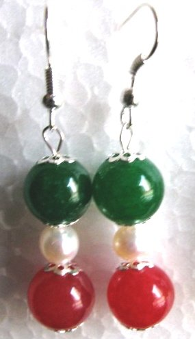 Genuine Freshwater Pearl & Green Blood Red Jade Earrings