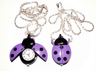 Purple Ladybug Watch Necklace