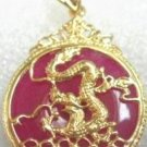 18K Gold Blood Red Jade Dragon Pendant Necklace