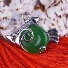 Silver Jade Fish Piranha Pendant Necklace